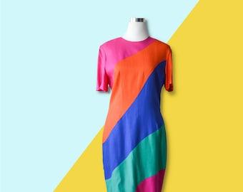 Vintage 80's Minimal Color Block  Dress