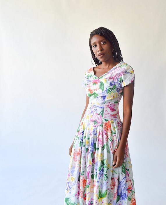 Vintage 80's Mischa Rainbow Floral Dress