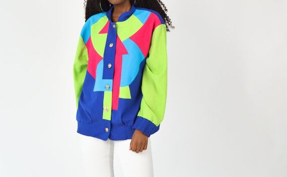 Vintage 90's Geometric Neon Shapes Bomber Top