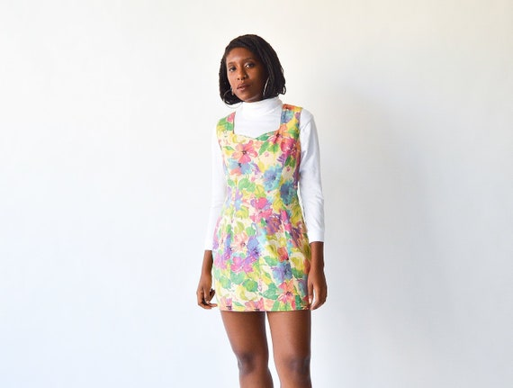 Vintage Pastel Impressionistic Floral Mini Dress