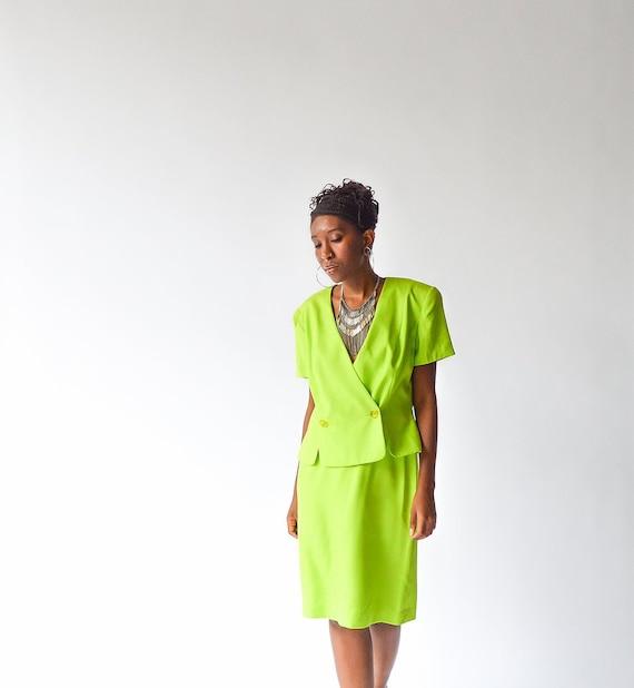 Vintage 90's Minimal Silk Lime Suit
