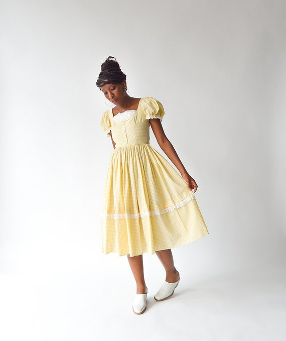 Vintage 50's Yellow Gingham Dress