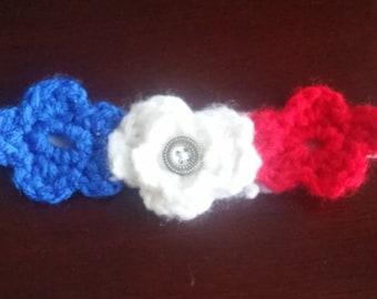 Red White and Blue elastic headband