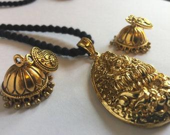 Goddess Lakshmi Pendant set, Black Dori Pendant with Jhumka earrings, Gold tone pendant, Temple Jewelry, Long dori pendant with black thread