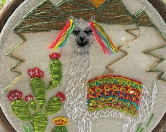 Boho style Llama, hand embroidered, beautiful colours, Llama artwork, mountains, cacti, hippy style home decor, cute, tassels, multicoloured
