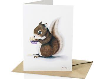 A6 carte de voeux écureuil «Douceur volé»