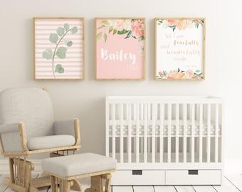 Baby Girl Nursery Wall Decorations custom nursery decor | etsy