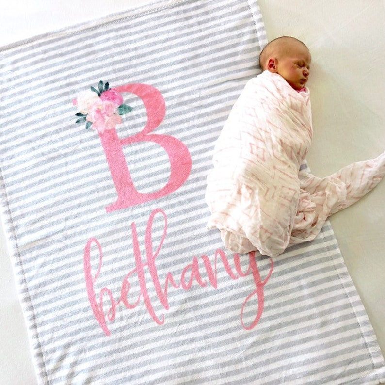 Personalized Baby Blanket for a Girl Baby Girl Gift image 0