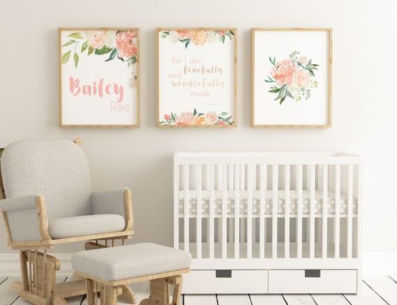 Personalized Baby Girl Wall Art Boho Nursery Nursery Decor | Etsy
