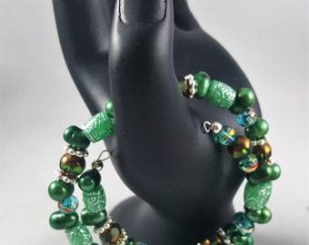 Seascape Green Freshwater Pearls Beaded Bracelet