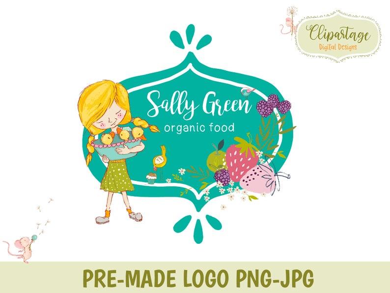 Premade LOGO and watermark, Custom logo design, Organic Food logo,Healthy  food logo, digital logo design, beautiful logos, logo LP502