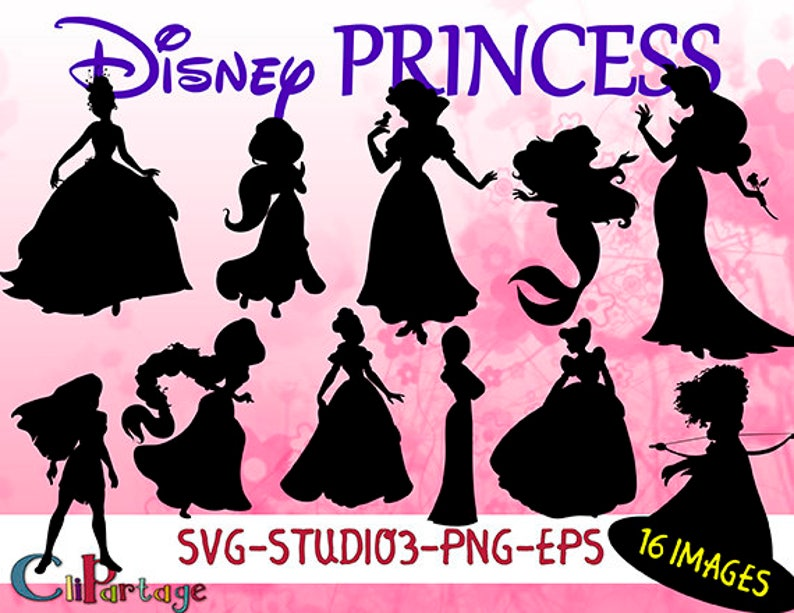Disney Princess Silohuette Cut Files For Cricut Princess Etsy