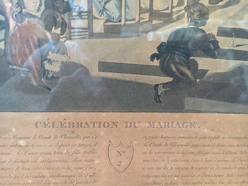 Print golden Louis XVI frame 43 x 52 cm Celebration Mariage Copper engraving color