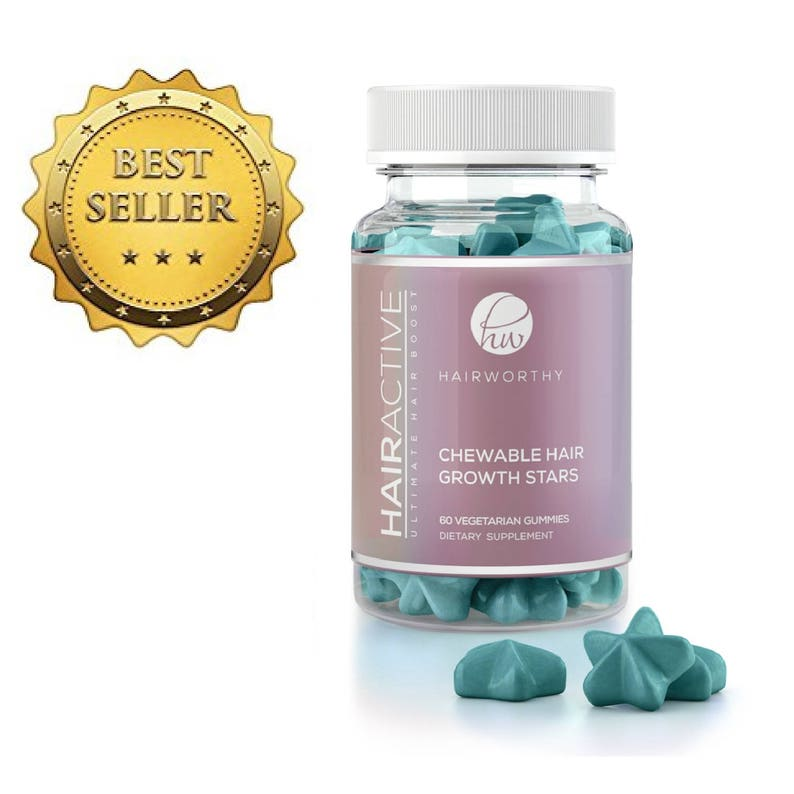 HAIRWORTHY - CHEWABLE FAST Acting Hair Growth Vitamins  Natural supplement  for longer, stronger and fuller hair