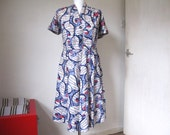 Vintage 50 39 s dress, Authentic cotton print dress, Rockabilly 50s retro clothing
