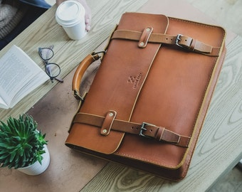 "Slim Leather Briefcase, Men's Messenger, 15"" Laptop Briefcase, Attache, Work Bag, Tote, Full Grain Laptop's Bag, Men's Leather Saddle Bag"