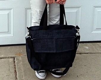 Denim Baby Bag, Travel Shoulder Bag, Removable Adjustable Cross Body Strap, Blue Denim, Cotton, Many Pockets