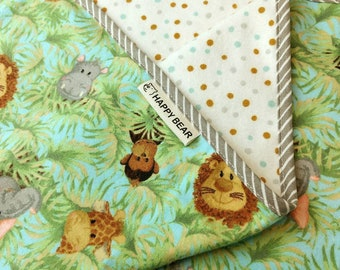 """1/2 Organic Cotton, 2-Layer Baby Blanket, 40"""" Square, Large Swaddle Blanket, 2 Layer Flannel"""