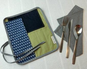 Large Utensil Wrap, Optional Stainless Steel Utensils, Cotton Napkin, Cutlery Wrap, 5 Slots, Cotton