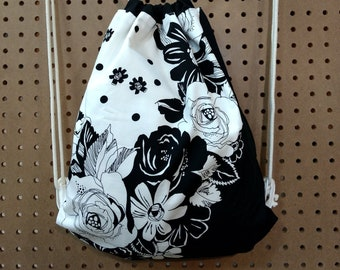 Cotton Cord Drawstring Backpack, Black and White, Cotton Fabric and Cord, Black and White Flowers