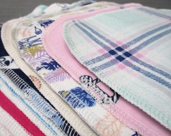 CUSTOM 8 Inch, Qty 18, Flannel, 2 Ply, Reusable Baby Wipes, Facial Cloths, Cotton
