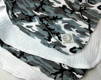 """Heavy Gauze & Flannel Baby Blanket, 36"""" Square, Monochrome, Gender Neutral, Black and Grey Camo, Cotton"""