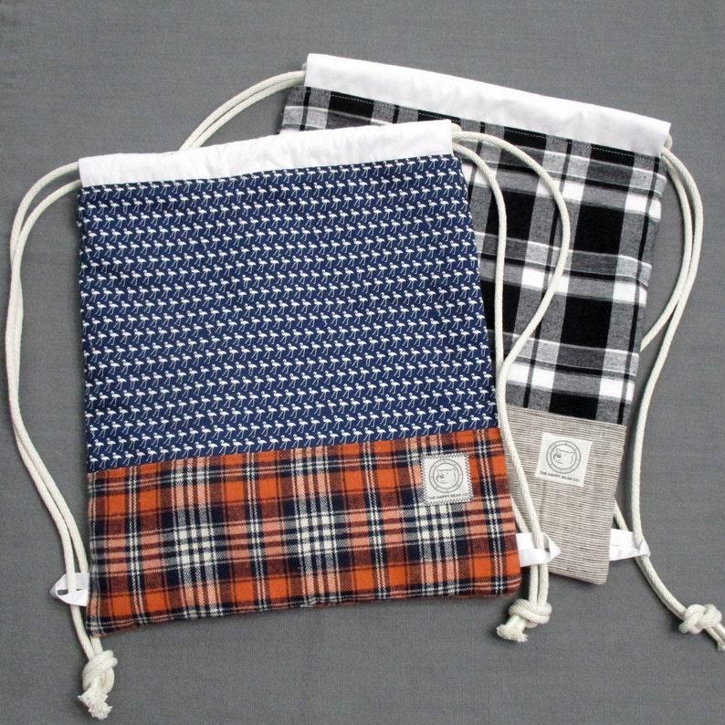 Flamingo and Plaid Tencel Thread Cotton Cord Linen Cotton Lining Cotton Drawstring Backpacks