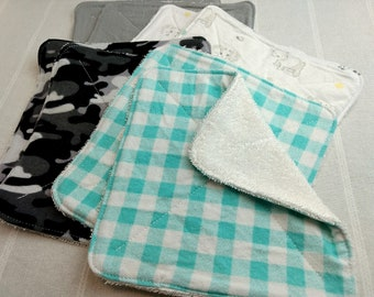 8 Inch, Qty 8, Upcycled Towel/Flannel, Reusable Wipes, Facial Cloths, Facial Rounds, Tencel Thread, Plaid Camo
