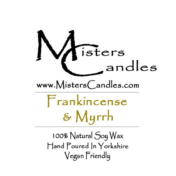 Frankincense & Myrrh (CHRISTMAS) - 100% Vegan, Natural Soy Wax Scented Candle. Up to 50 hours burn time. Birthday Present, Gift for her