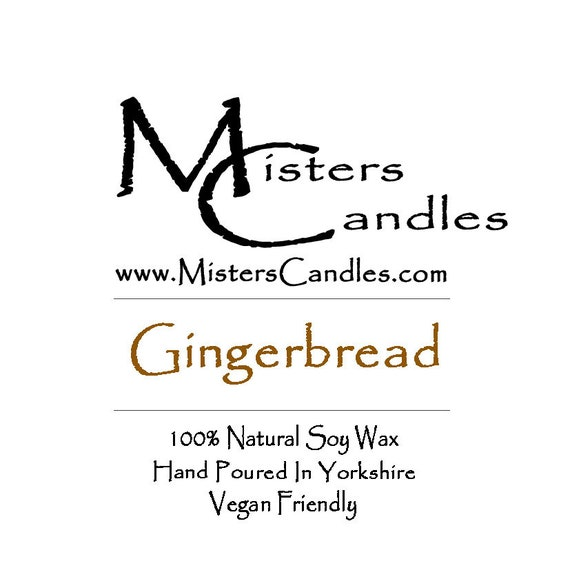 Gingerbread (CHRISTMAS) - 100% Vegan, Natural Soy Wax Scented Candle. Up to 50 hours burn time. Birthday Present, Gift for her