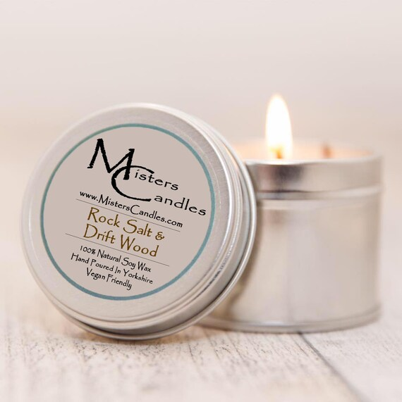 Rocksalt & Driftwood - 100% Vegan, Natural Soy Wax Scented Candle. Up to 50 hours burn time. Birthday Present, Gift for her