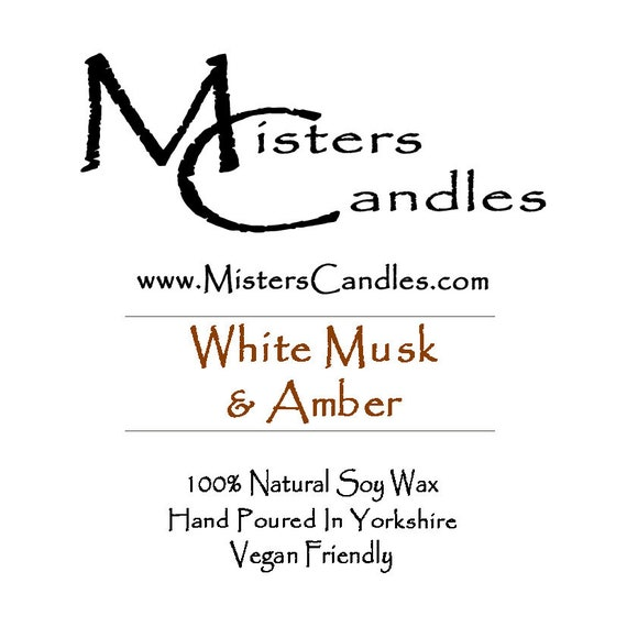 White Musk & Amber - 100% Vegan, Natural Soy Wax Scented Candle. Up to 50 hours burn time. Birthday Present, Gift for her