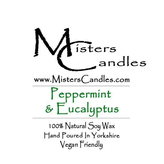Peppermint & Eucalyptus  - 100% Vegan, Natural Soy Wax Scented Candle. Up to 50 hours burn time. Birthday Present, Gift for her