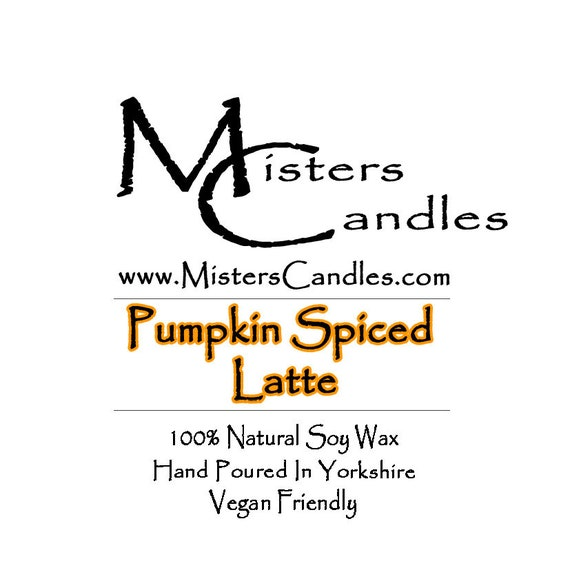 Pumpkin Spiced Latte  - 100% Vegan, Natural Soy Wax Scented Candle. Up to 50 hours burn time. Birthday Present, Gift for her