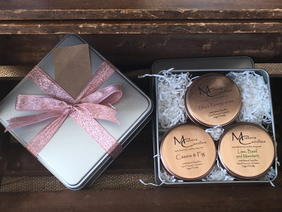 Gift Tin - Recycled Gift tin includes 3 x 100% Natural 4oz Scented Candles, Hand Poured in Yorkshire - Vegan Friendly