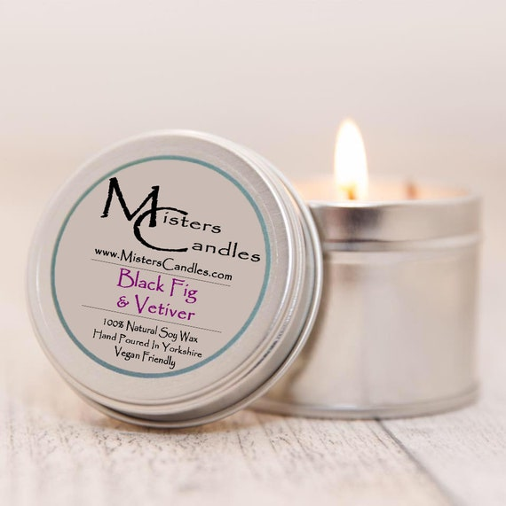 Black Fig & Vetiver - 100% Vegan, Natural Soy Wax Scented Candle. Up to 50 hours burn time. Birthday Present, Gift for her