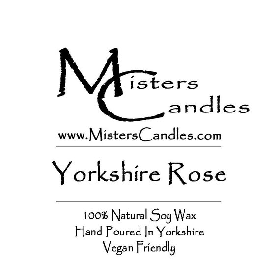 Yorkshire Rose - 100% Vegan, Natural Soy Wax Scented Candle. Up to 50 hours burn time. Birthday Present, Gift for her