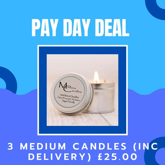 3 x Medium Soy Wax Vegan Scented Candles (inc delivery) -  Up to 30 hours burn time - Vegan Friendly & Cruelty Free