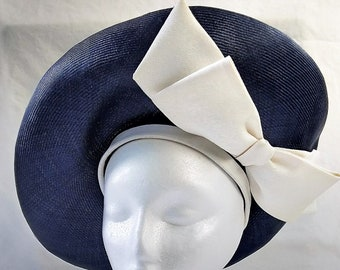 Vintage 60's Large Navy Blue & White Saucer Style Hat