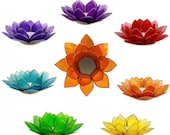 Pack Candlesticks 39 Lotus Flowers 39 x 7 Chakras - In Capiz shells, finish with silver edges - For a 100 successful Zen atmosphere