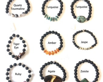 100% Gem bracelets and Zen, mix of lava stone + and various semi precious stone, 8mm, elastic high resistance to order.