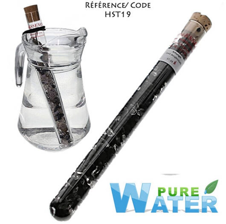 Stick gem for mineral 'Shungite + rock crystal' water purification, Tube  glass 25cm long from the brand 'Pure Water'