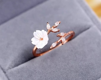 New Crystal Copper Flower branch Leaf Adjustable Finger Wedding Rings for Women Rose Gold Zircon Open Ring Gift Christmas