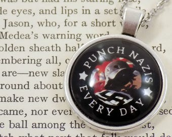 Punch Nazis Every Day - Tattered Third Reich Design - 25mm Round Pendant