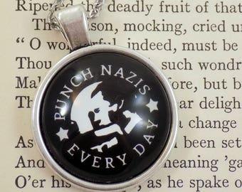Punch Nazis Every Day - Neonazi Silhouette Design - 25mm Round Pendant