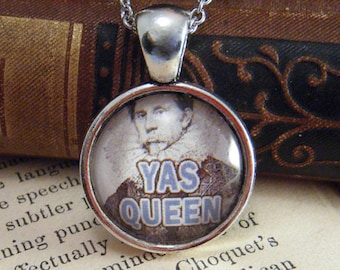 """Pendant Necklace """"YAS QUEEN"""" - Meme Jewelry, Meme Gifts, Dank Memes, Funny Gifts, Internet Gifts, Birthday Gift, Vintage"""