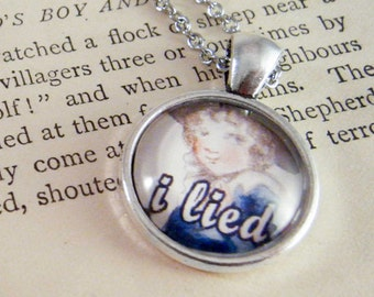 """Pendant Necklace """"I Lied"""" Meme Jewelry, Meme Gifts, Dank Memes, Funny Gifts, Internet Gifts, Birthday Gift, Vintage"""