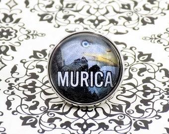 Snap Charm Button - MURICA - America, Eagle, Meme Jewelry, Dank Memes, Vintage, Noosa, Ginger Snaps, Vintage Illustrations