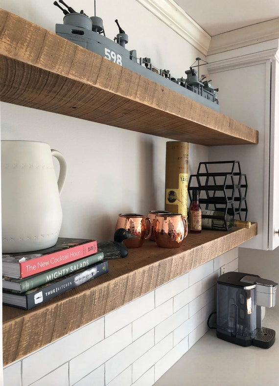 LARGE Rustic Reclaimed Wood Shelves Barnwood Floating Shelf   Etsy