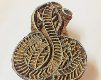 Snake design traditionally hand carved Indian wood printing block hand carved for textile stamping henna scrap booking